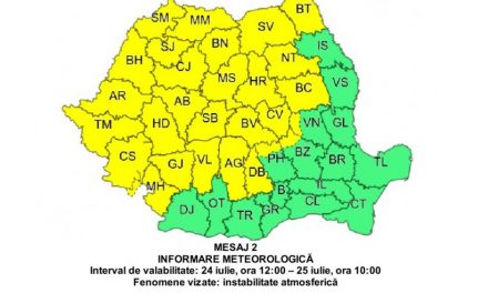 Administratia Naționala de Meteorologie a prelungit CODUL GALBEN de vreme rea