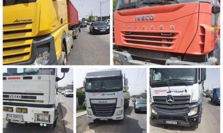 FOTO: Camionagii sunt controlați pe DJ 691 din Dumbrăvița