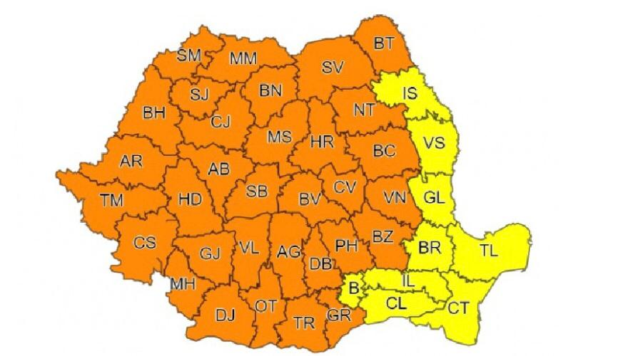 Administrația Națională de Meteorologie anunță cod portocaliu pentru Banat