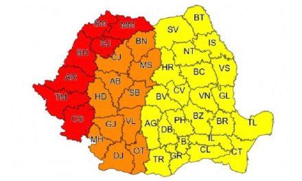 Administrația Națională de Meteorologie anunță COD ROȘU pentru Timiș