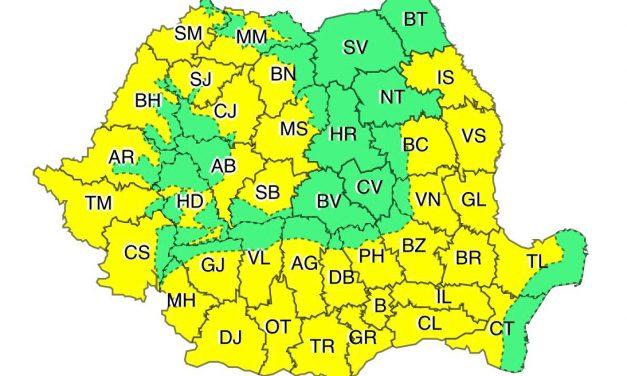 ANM: Cod galben în cea mai mare parte a țării