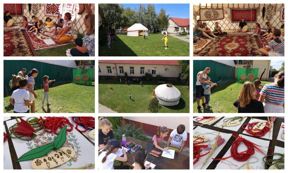 FOTO: Elevii secției maghiare au învățat despre istoria hunilor într-o iurtă instalată chiar în curtea școlii din Dumbrăvița!
